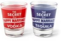 Happily Unmarried Secret Of Happy Marriage Shot Glass (50 Ml, White, Pack Of 2)
