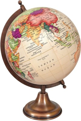 Globeskart Designer Cream Multicolour Contour With Antique Copper Finish Stand D Political World Globe (Medium Cream)