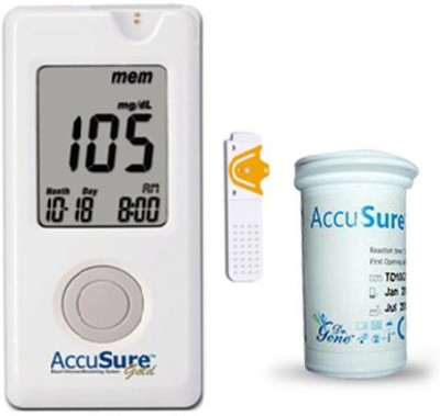 Accu Sure Gold Glucose Monitor with 10 Strips Glucometer White