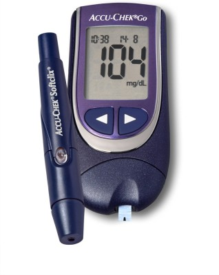 Accu-Chek Go Glucose Monitor Only with 25 Strips Glucometer Black