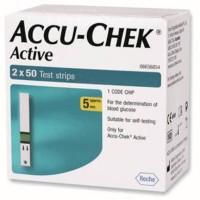 ACCU-CHEk Active 100 Test Strips Expiry (1-2017) Glucometer (White)
