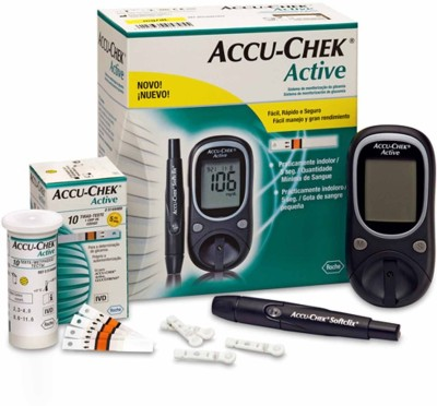 Accu-Chek Active Glucose Monitor with 100 Strips Glucometer Black