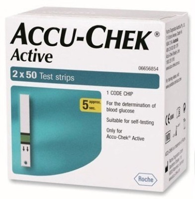 Accu-Chek Active 100 Strips Pack Only For Glucometer (Green)