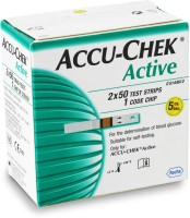 Roche Accu-Chek Active Test Strips - 100 Glucometer (Green, White)