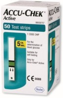 ACCU- CHEK Active 50 Test Strips Expiry(1-2017) Glucometer (White)