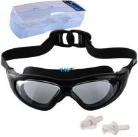 TAG3 (Tm) Premium Quality Uv Shield Anti Fog With Ear Plugs And Hard Outer Box Big Swimming Water Sports Goggles (Black)