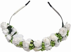 Pink & Blue India Floral Infant with Roses and Green Leaves Head Band