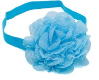 NeedyBee Blue Big Chiffon Flower Kids Hair Styling Accessories Elastic Baby Head Band (Blue)