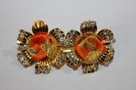 Urban Fashion Orange & Golden Jerry With Stones Hair Clip