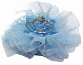 Pink & Blue India Beautiful Kids Net Flower With Crown Head Band