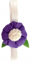 NeedyBee Baby With Felt Flower - Newborn To Five Years (Stretchable) Head Band (White And Purple)