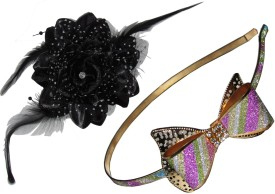 Gd Multi color Bow with Floral Tic-Tac Hair Accessory Set