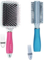Babila ROUND & PADDLE HAIR BRUSH( TWO-IN-ONE) WITH CLEANING COMB