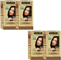 Indus Valley 100% Organic Botanical Dark Brown (Also Suitable For Pregnant Women & Lactating Mothers) Set Of 4- One Touch Pack- Hair Color (Dark Brown)