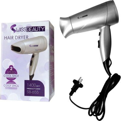 Swiss Beauty SB-655-1400Watt Hair Dryer (Silver, Black)