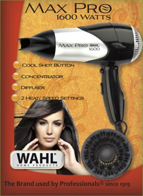 Wahl 5050-024 Max Pro 1600 W Compact Hair Dryer (Silver)