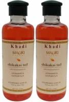 Khadi Mauri Shikakai Hair Oil Pack Of 2 Herbal Ayurvedic & Natural 210 Ml Each Hair Oil (420 Ml)