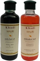 Khadi Mauri Amla & Shikakai Hair Oil Combo Pack Of 2 Herbal Ayurvedic 210 Ml Each Hair Oil (420 Ml)