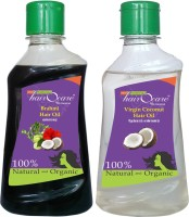 Hairocare Brahmi (200 Ml) + Virgin Coconut (200 Ml) - Medicinal Oil For Memory Power & Stress Relief - Hair Oil (400 Ml)
