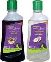 Hairocare Neeli Bringha ( 200 Ml ) & Virgin Coconut ( 200 Ml ) - Traditionally Made - Hair Oil (400 Ml)