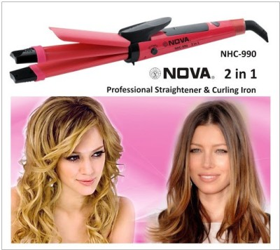 Nova 2 in 1 Hair Straightner and Hair Curler NHC 990/00 Hair Straightener (Red)