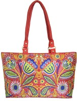 Shilpkart Digital Tribal Floral Printed Hand-held Bag Red