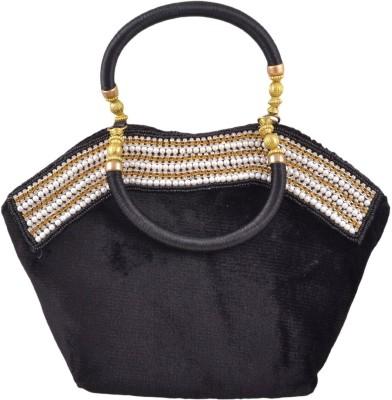 Freddys Velvet Style Stone Work Hand-held Bag - Black
