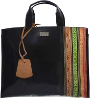 Arpera Border Printed Terracotta Leather C11340-1B Hand-held Bag - Black