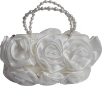Inspired Livingg Rose Purse With Beaded Handle Hand-Held Bag White