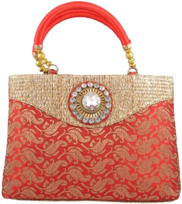 Freddys Ethnic Stone Work Hand-held Bag - Red