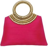 Bhamini Raw Silk Handbag With Brass And Diamond Rich Handle (Pink) Hand-held Bag (Pink-01)