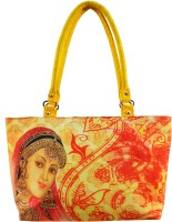 Shilpkart Traditional Digital Print Hand-held Bag (Yellow)