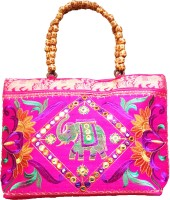 Ethnic Art Handcrafted Lily Hand-held Bag Pink