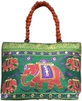 Ethnic Art Hand-held Bag Green