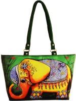 Shilpkart Digital Elephant Print Hand-held Bag Green
