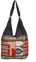 Domestiq Zipper Style Patch Work Jhola Shoulder Bag (Black)