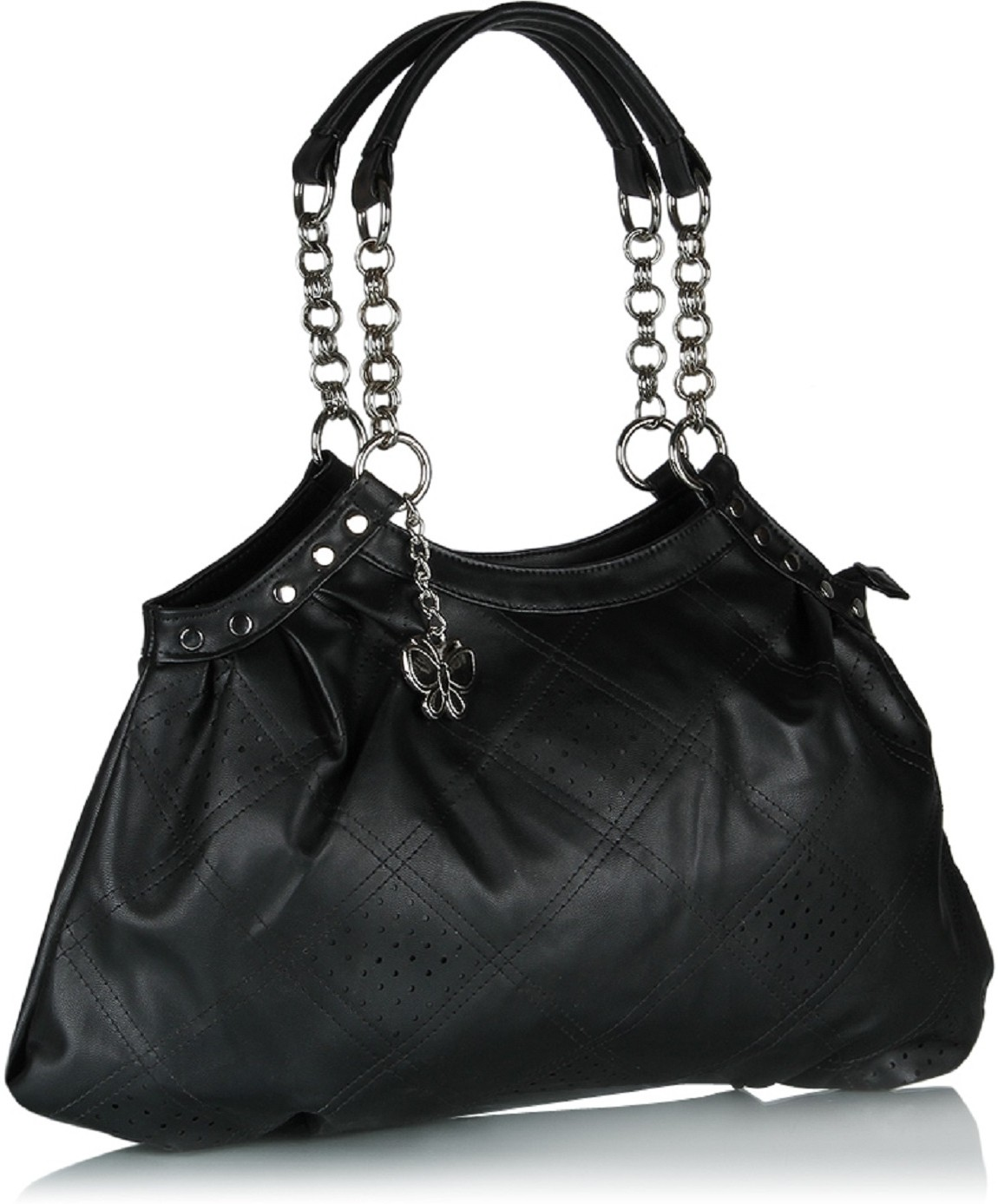 Gym Bag Flipkart: Butterflies Perforated Design Hand Bag Black