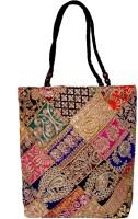 Womaniya Handicraft Ehnic Embroidery Patches Work Shoulder Bag Black