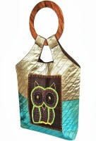 Indha Craft Owl Embroidered Hand-held Bag - Green-05