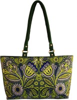 Shilpkart Digital Tribal Floral Printed Hand-held Bag Green