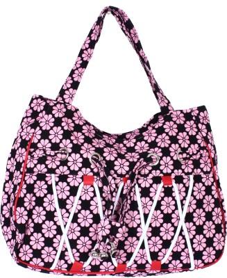 Samsara Cotton Canvas Floral Print Hand Bag - Pink & Black