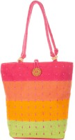 Jute Cottage Multi Colour Thread Work Shoulder Bag (Multicolour)