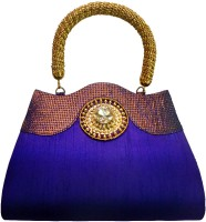 Bhamini Antique Handle Ethnic Hand-held Bag - Blue-01