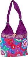 Womaniya Handicraft Flower Print Jhola Shoulder Bag Purple