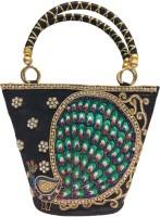 MoKanc Peacock Embroidery Hand-held Bag - Black