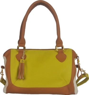 Toteteca Bag Works Mid Shoulder Satchel Shoulder Bag - Acid Green, Offwhite, Tan
