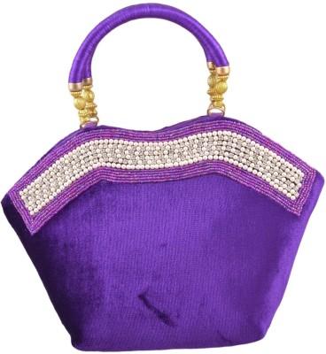 Freddys Velvet Style Stone Work Hand-held Bag - Violet