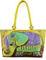 Shilpkart Digital Elephant Print Hand-held Bag (Yellow)