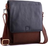 WildHorn Genuine Leather-Canvas Classic 001A Messenger Bag Black, Brown