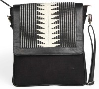 Guava Leather With Jaquard Print Messenger Bag Black And White